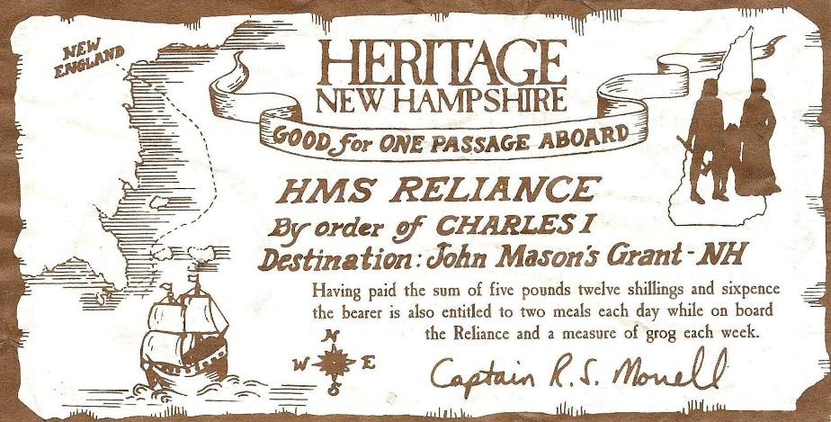 Heritage New Hampshire Admissions Ticket