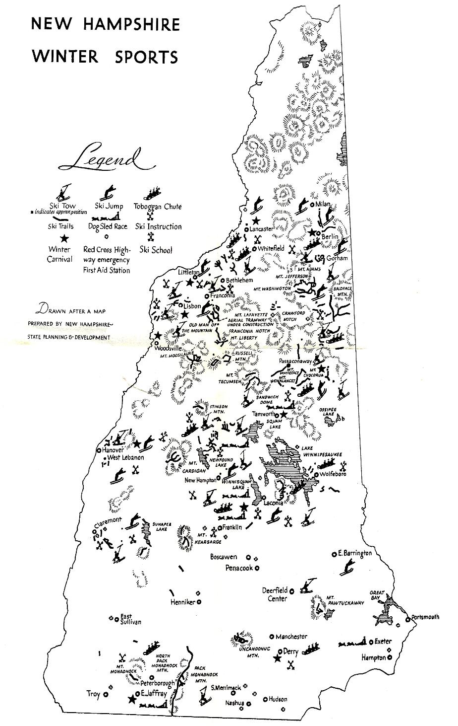 New Hampshire Winter Sports Map[ 1938