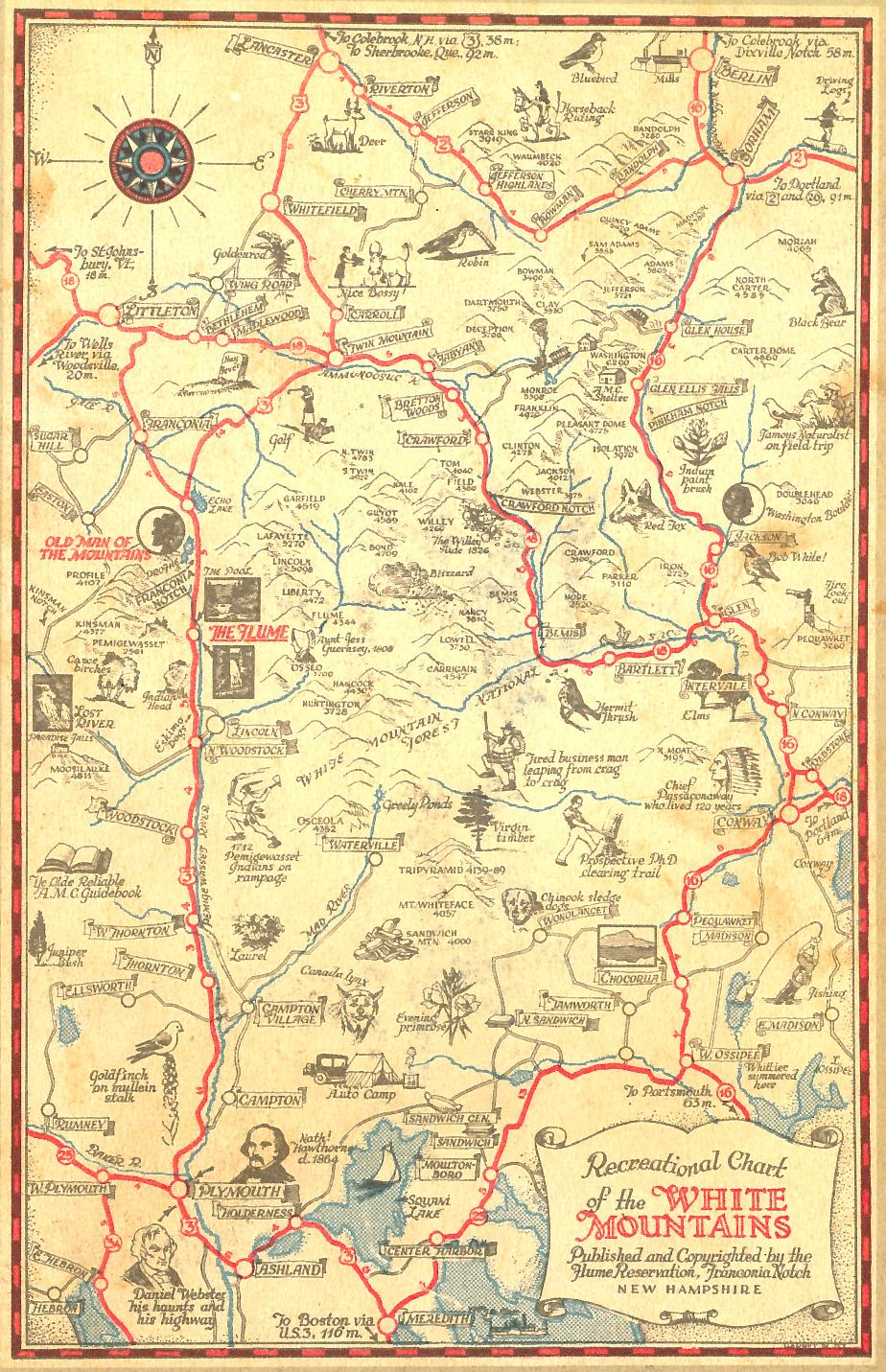 Recreational Map of the White Mountains - 1933
