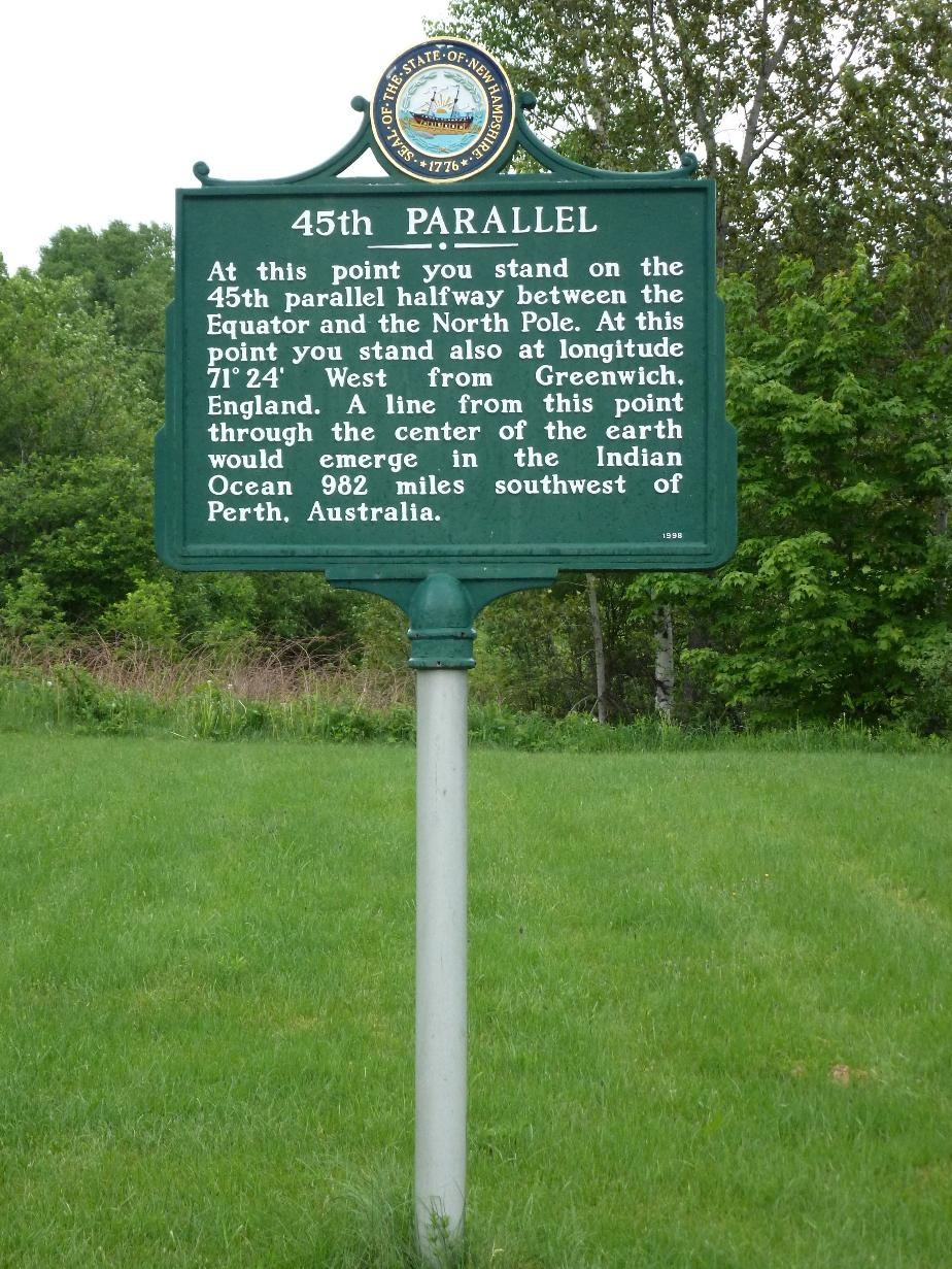 45th Parallel, New Hampshire Historical Marker