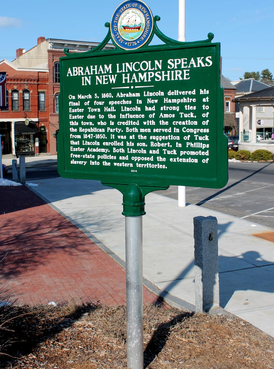 Abraham Lincoln Speaks in Exeter NH Historical Marker