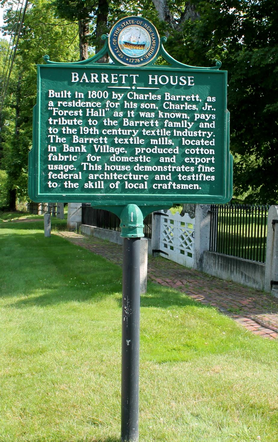 Barrett House Historical Marker - New Ipswich New Hampshire