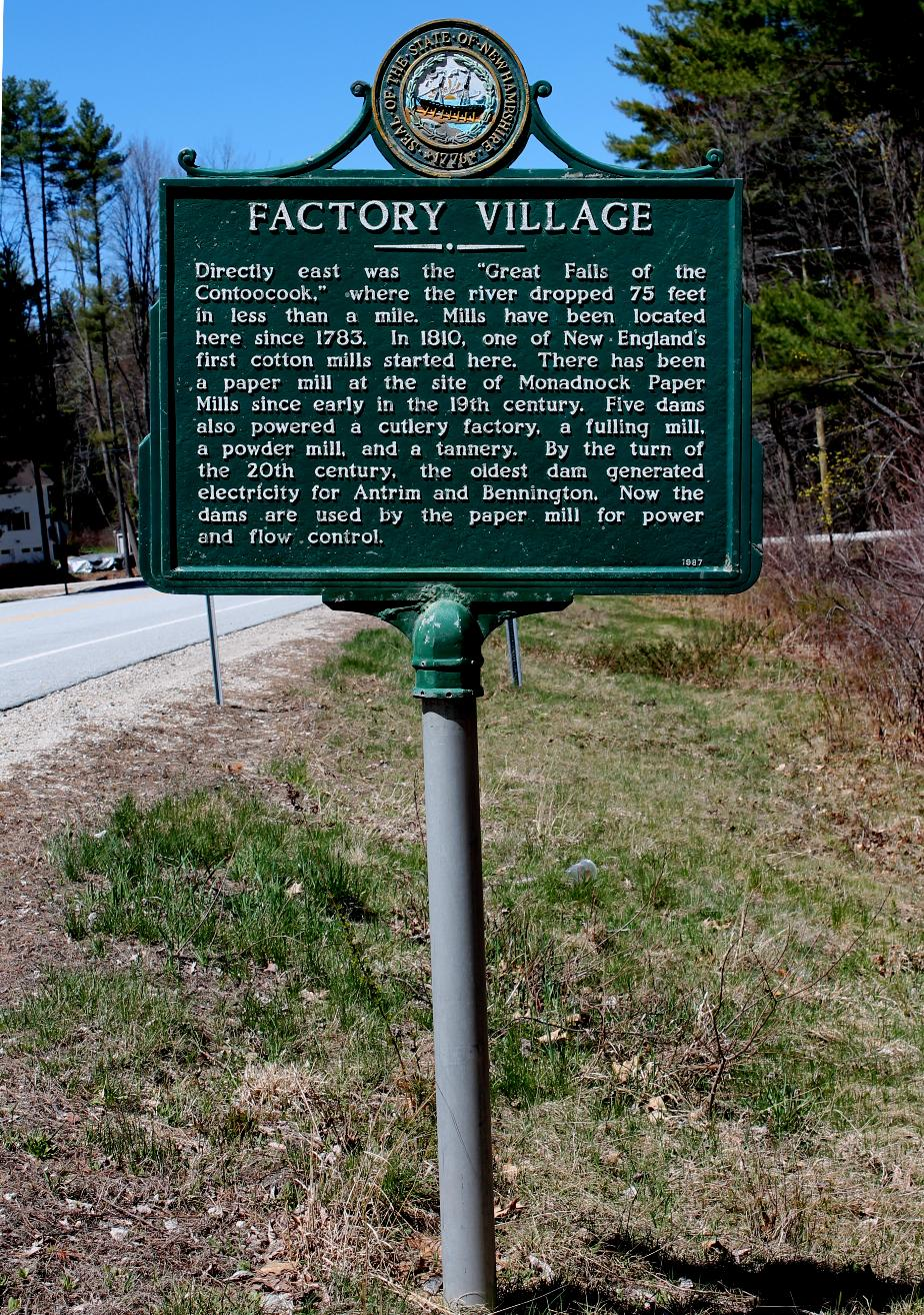 Factory Village - Bennington, New Hampshire Historical Marker