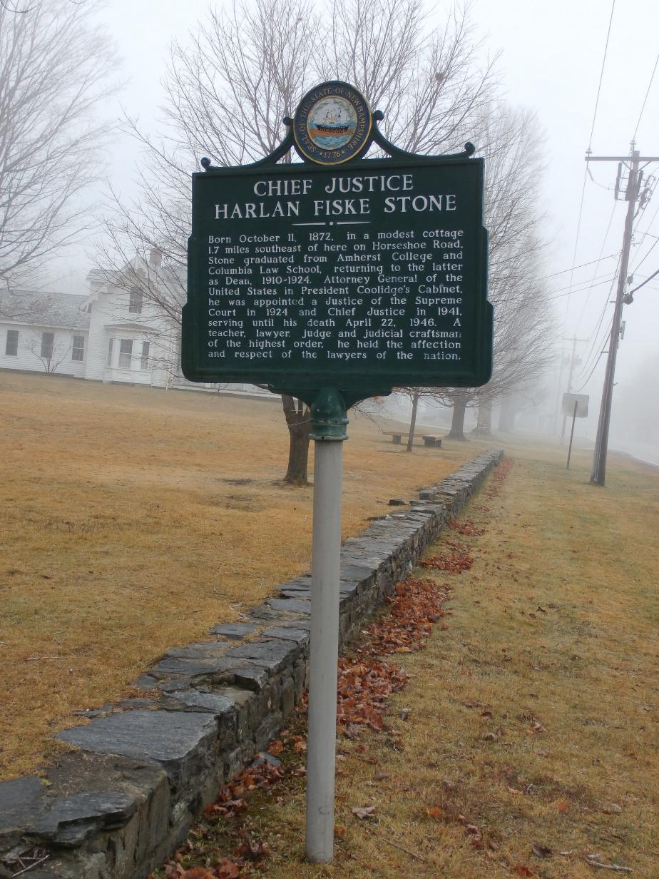 Chief Justice Harlan Fiske Stone Historical Marker