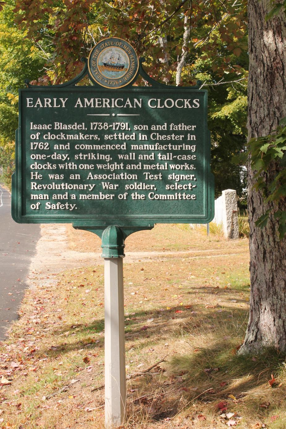 Early American Clocks Chester Historical Marker
