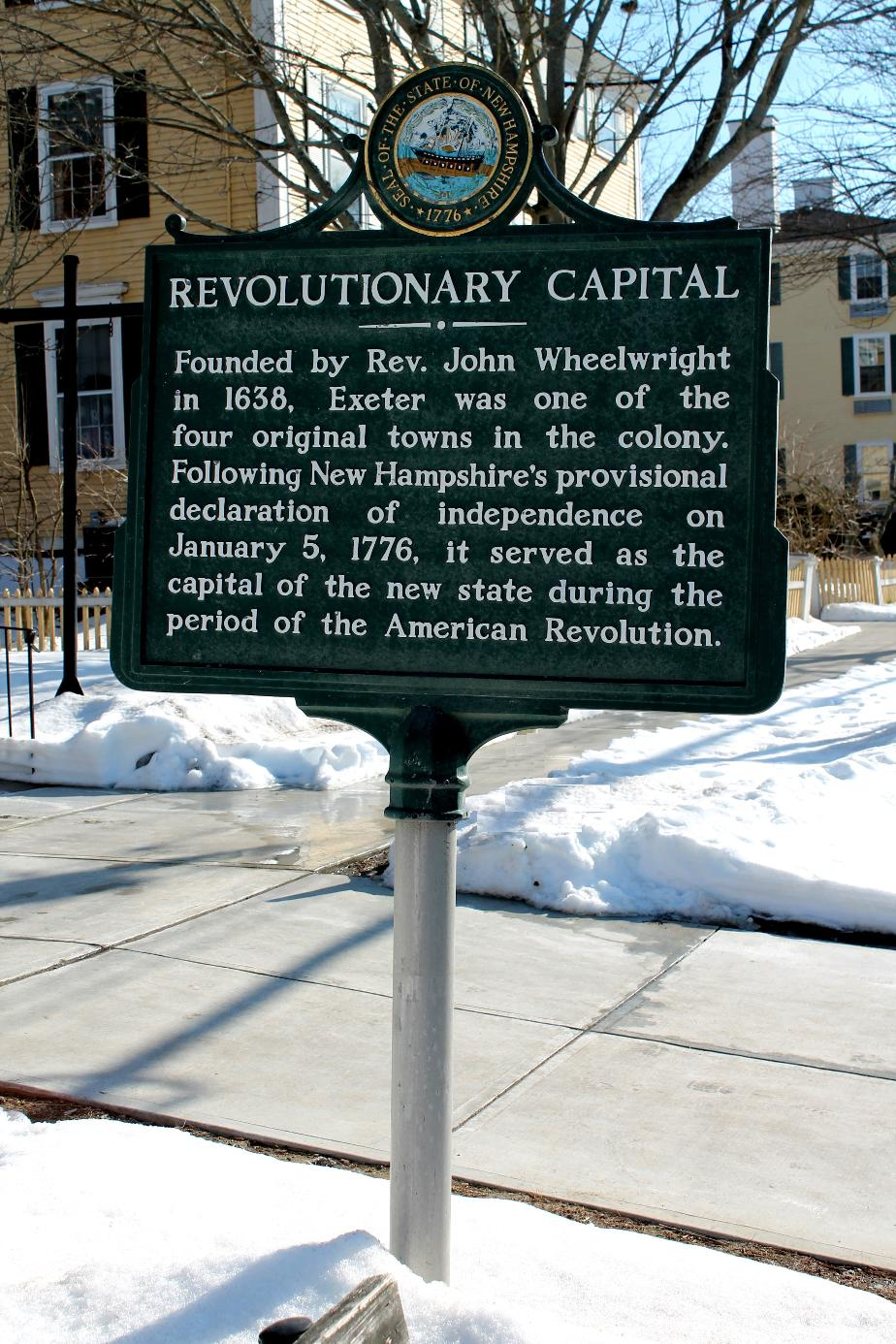 Exeter NH - Revolutionary War Capitol NH Historical Marker