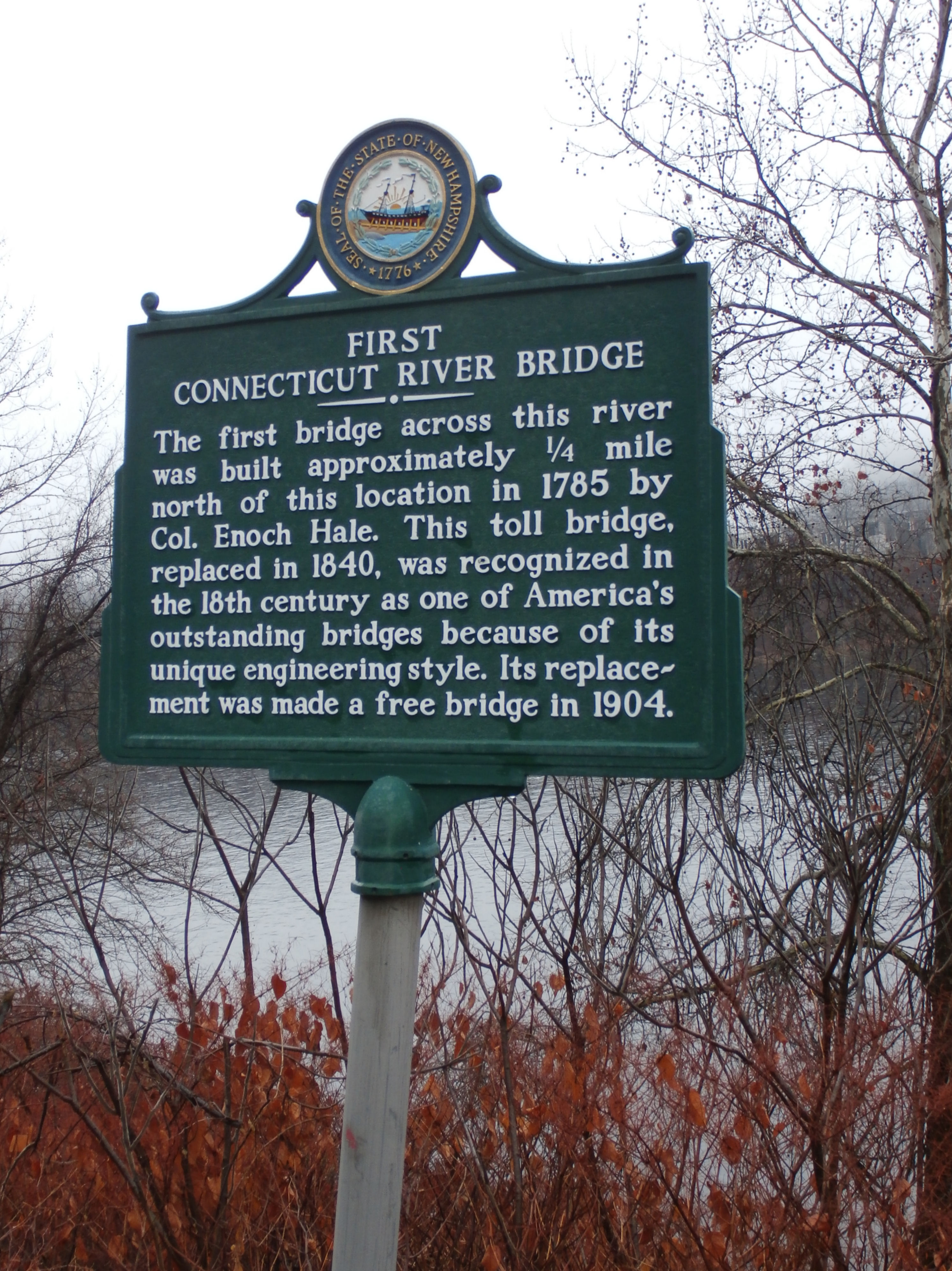 First Connecticut River Bridge Historical Marker