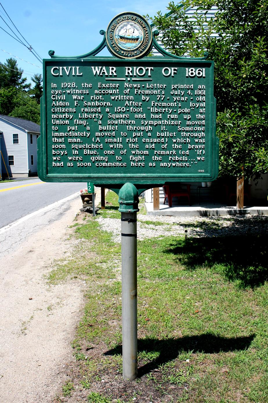 Fremont New Hampshire Civil War Riot Historical Marker