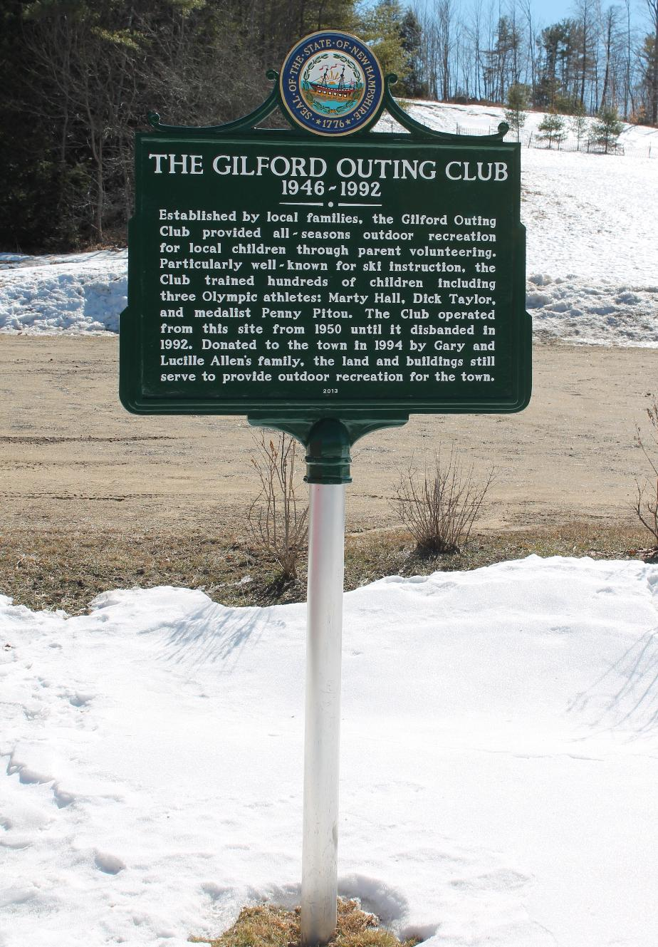 Gilford NH Outing Club Historical Marker