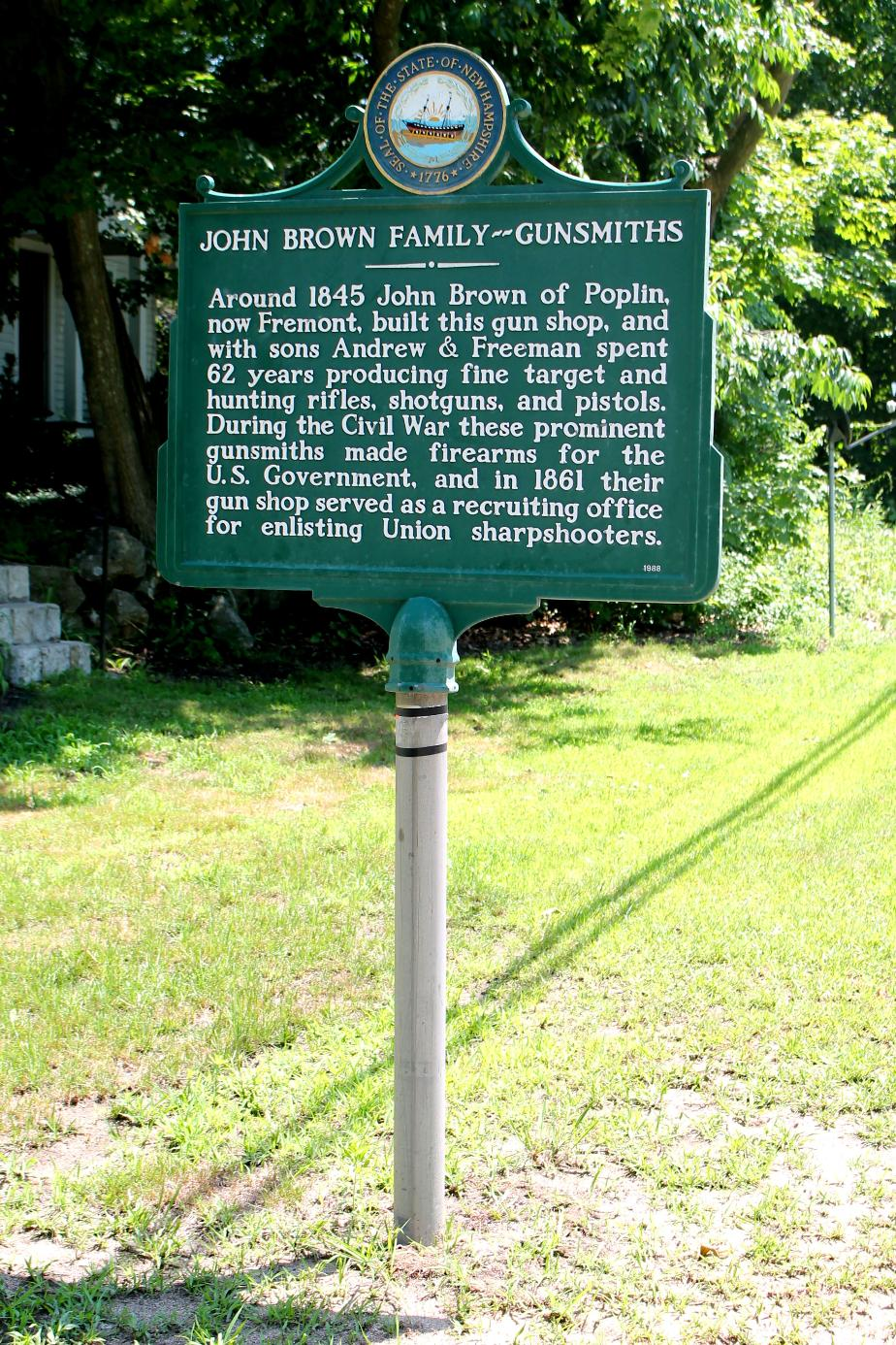John Brown Family Gunsmiths - Historical Marker - Poplin/Fremont New Hampshire