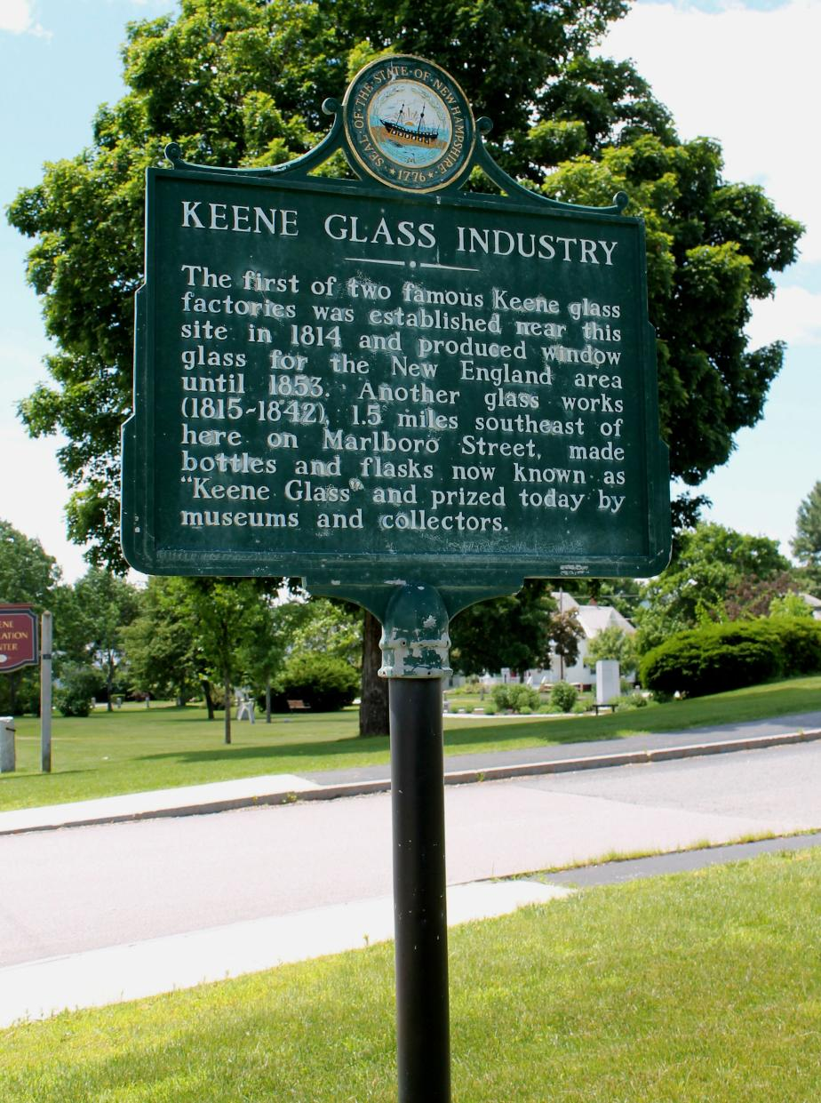 Keene Glass Industry Historical Marker