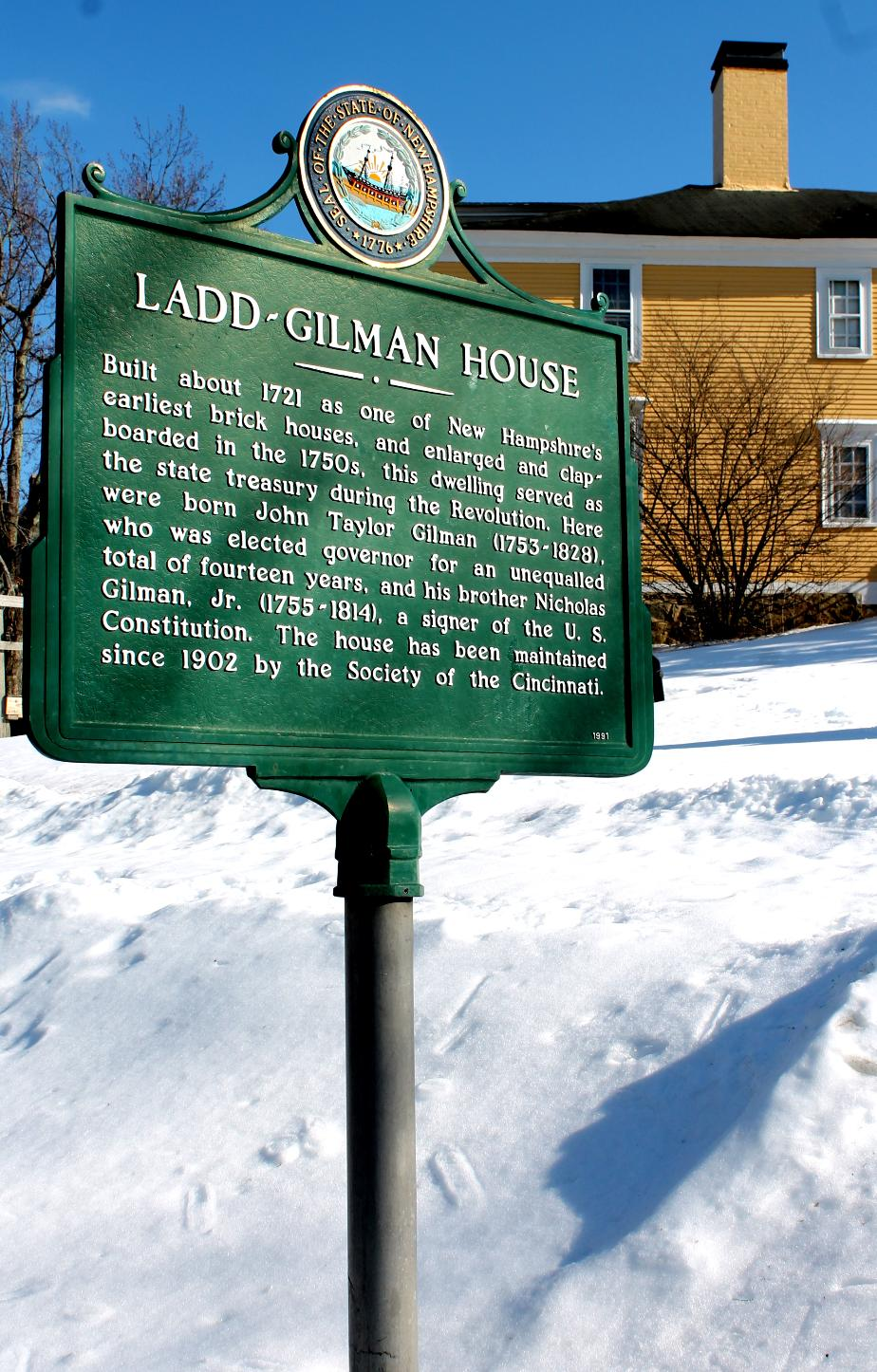 Ladd-Gilman House NH Historical Marker - Exeter NH