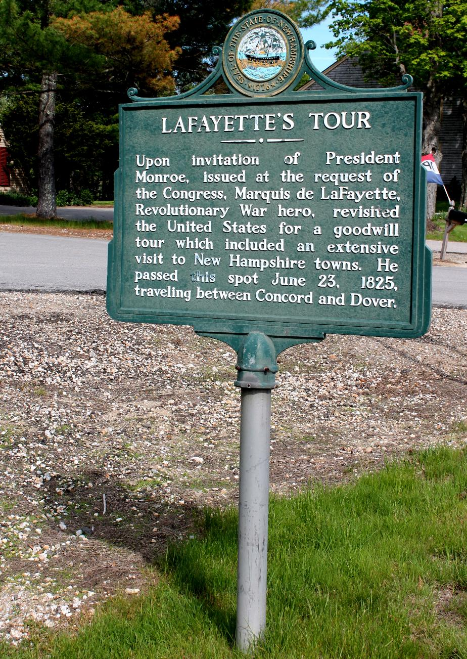 Lafayette's Tour Historical Marker - Northwood NH