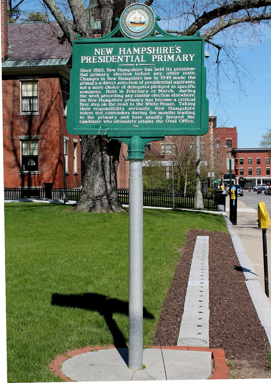 Presidential Primary Historical Marker, Concord New Hampshire