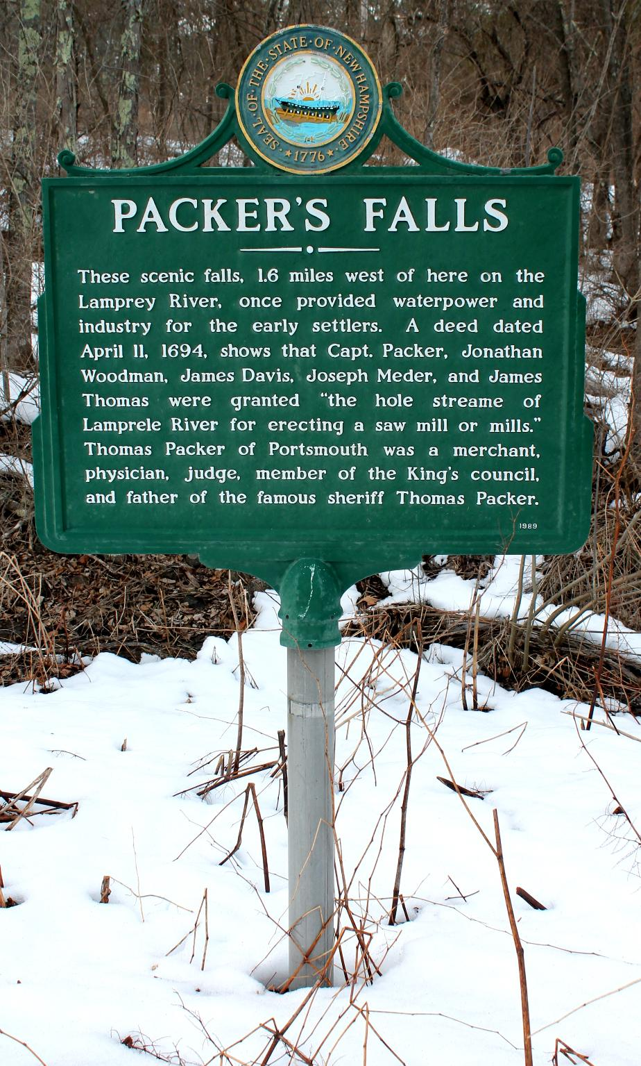 Packer's Falls Historical Marker - Durham New Hampshire