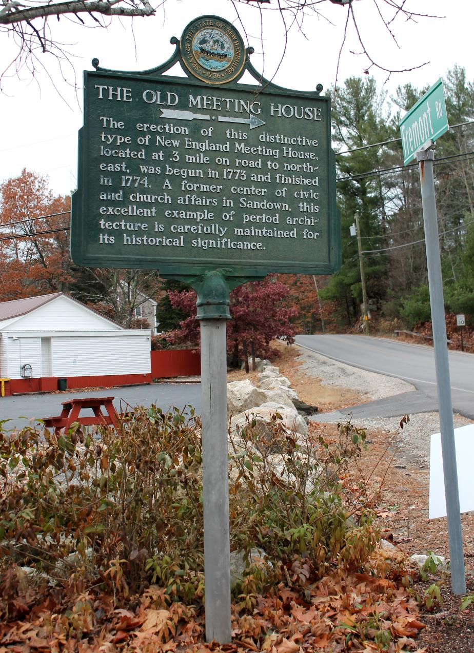 Old Meeting House Historical Marker - Sandown New Hampshire
