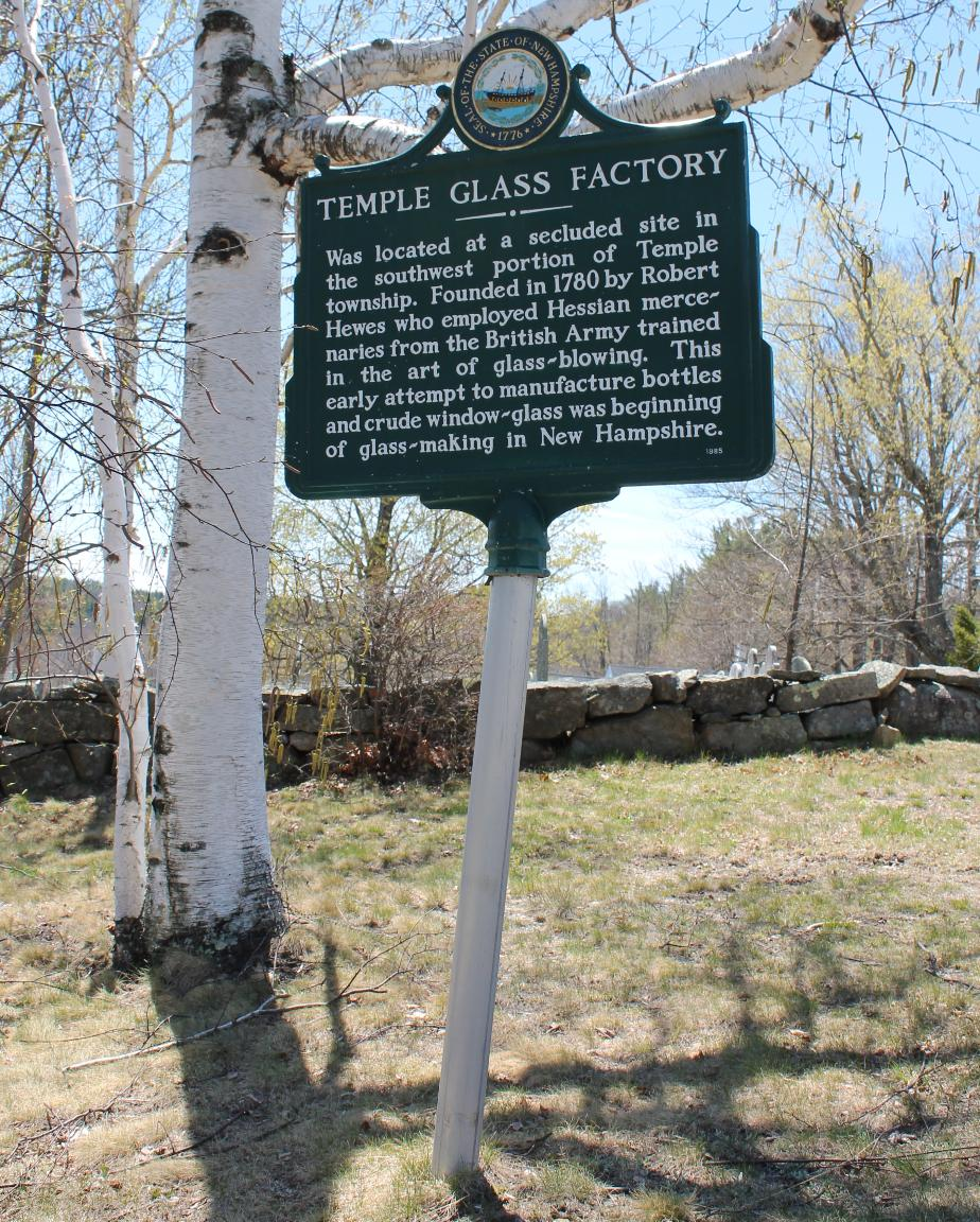 Temple Glass Factory Historical Marker, Temple New Hampshire