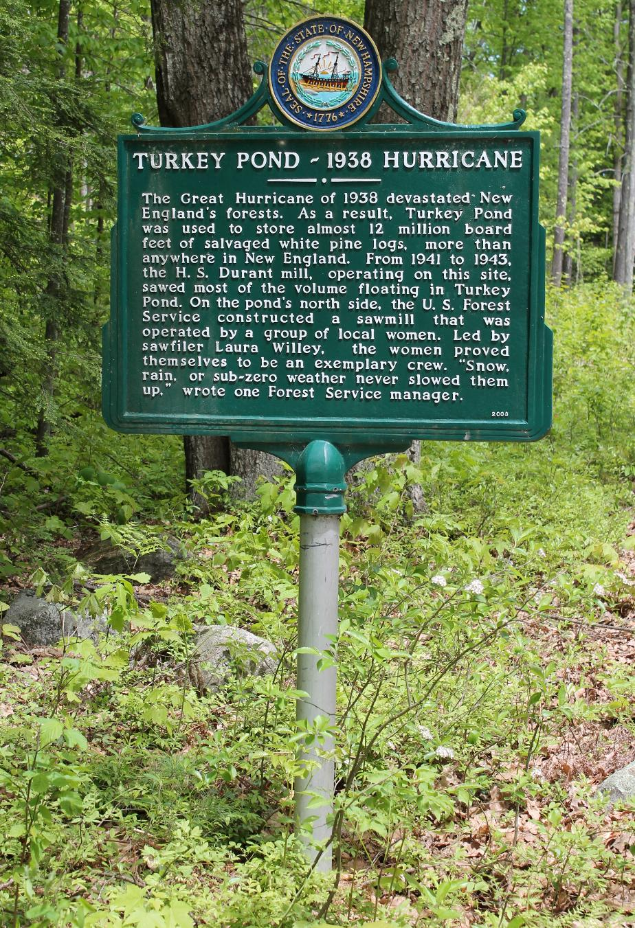 Turkey Pond (Concord) NH Hurricane Historical Marker