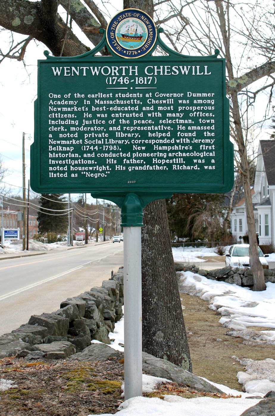 Wentworth Cheswill Historical Marker - Newmarket New Hampshire