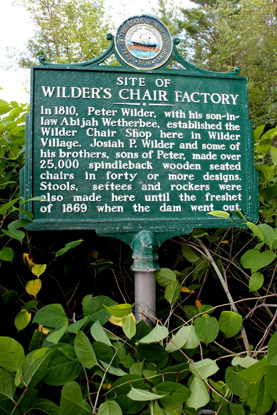 Wilders Chair Factory Historical Marker - New Ipswich New Hampshire