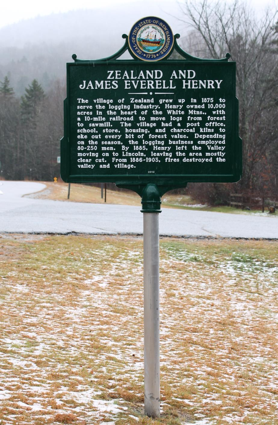 Zealand and James Everell Henry Historicasl Marker - Carroll New Hampshire