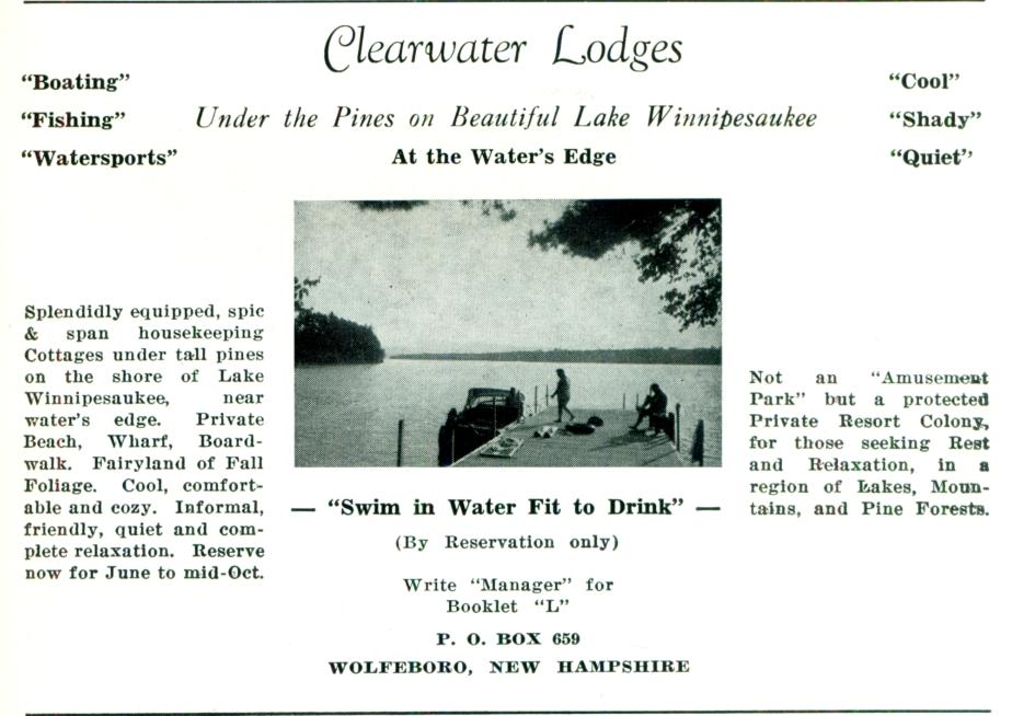Clearwater Lodges - Wolfeboro NH 1953