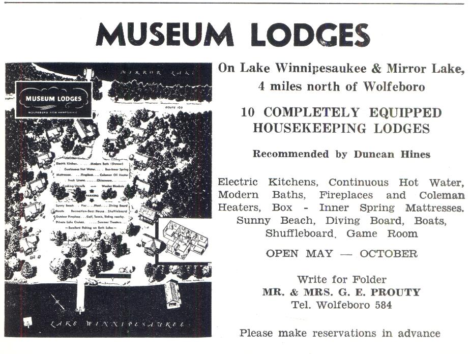 Museum Lodges - Wolfeboro NH 1953
