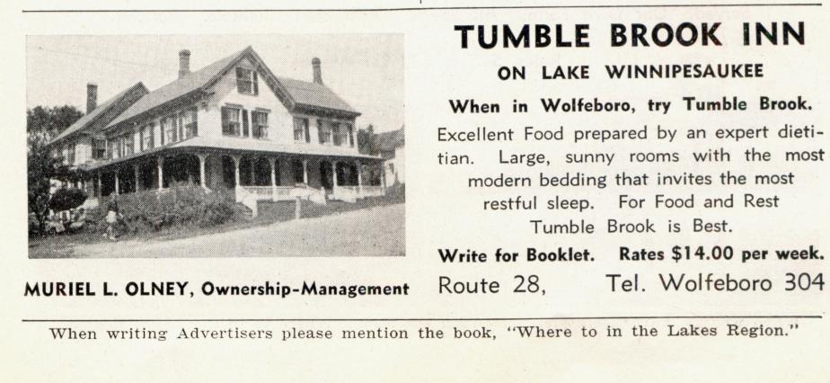 Tumble Brook Inn - Wolfeboro NH 1939