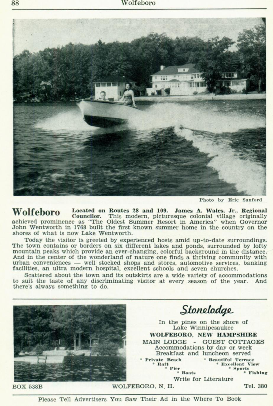 Wolfeboro NH 1953 Visitors Guide