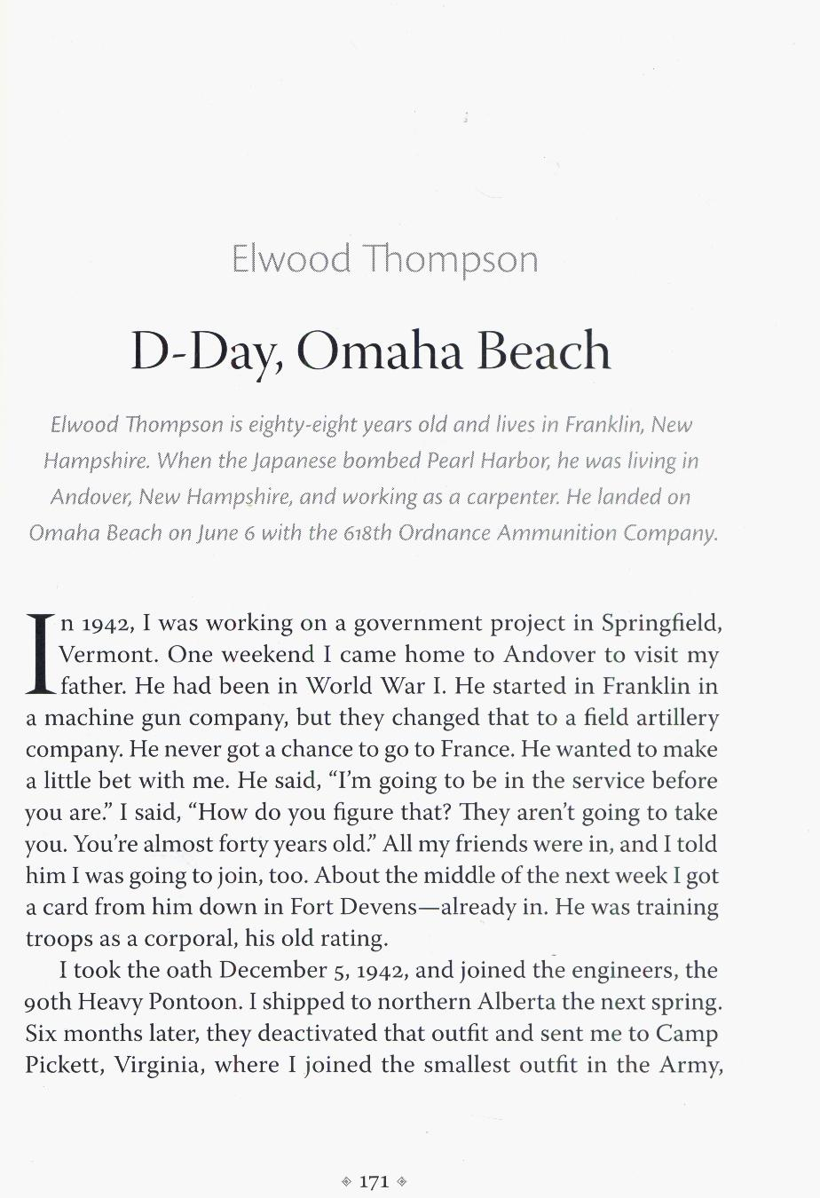 Elwood Thompson D-Day Survivor - Franklin NH