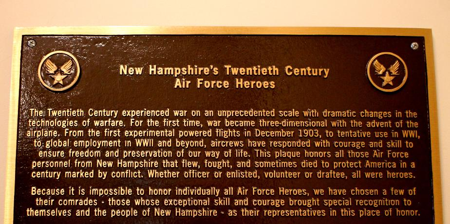 New Hampshire Air Force Heroes Plaque - New Hampshire State House