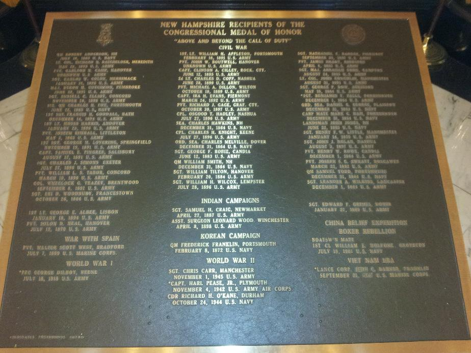 New Hampshire Medal of Honor Plaque