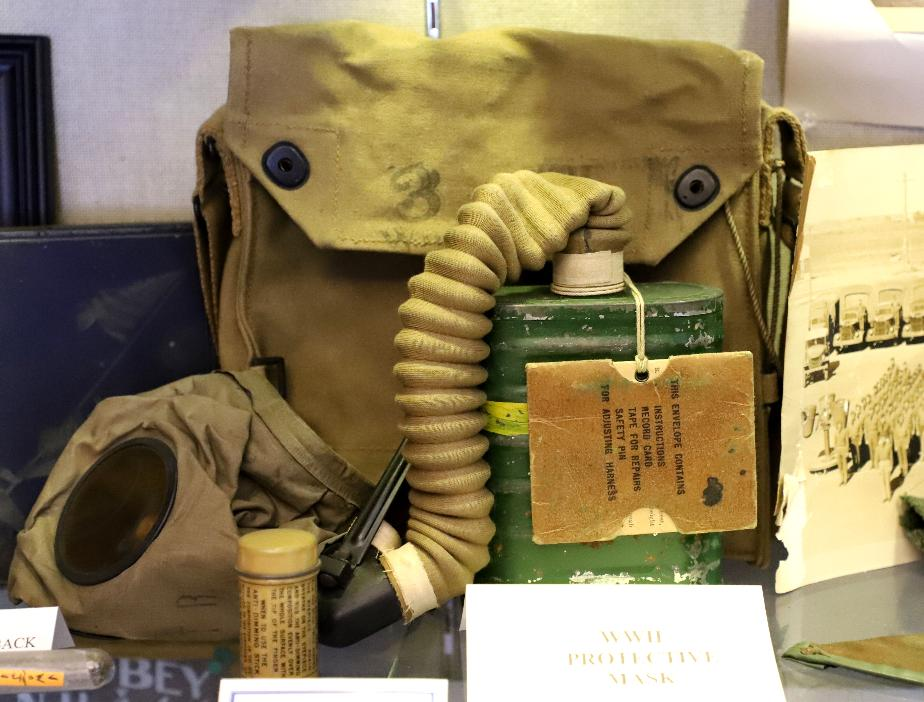 NH State Veterans Cemetery Display Case - WWII Gas Mask