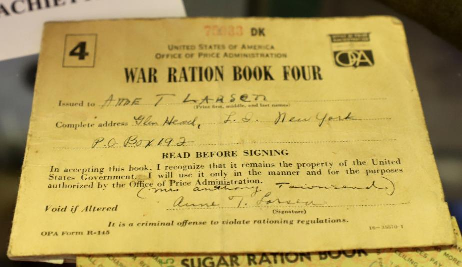 NH State Veterans Cemetery Display Case - War Rations Book