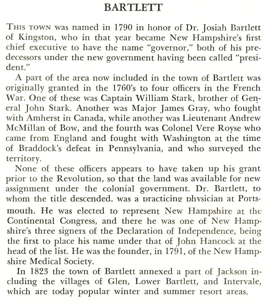 Bartlett NH Town Name Origin