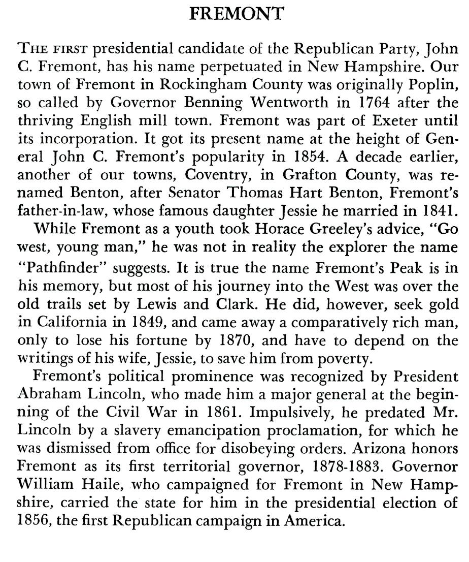 Fremont NH Town History
