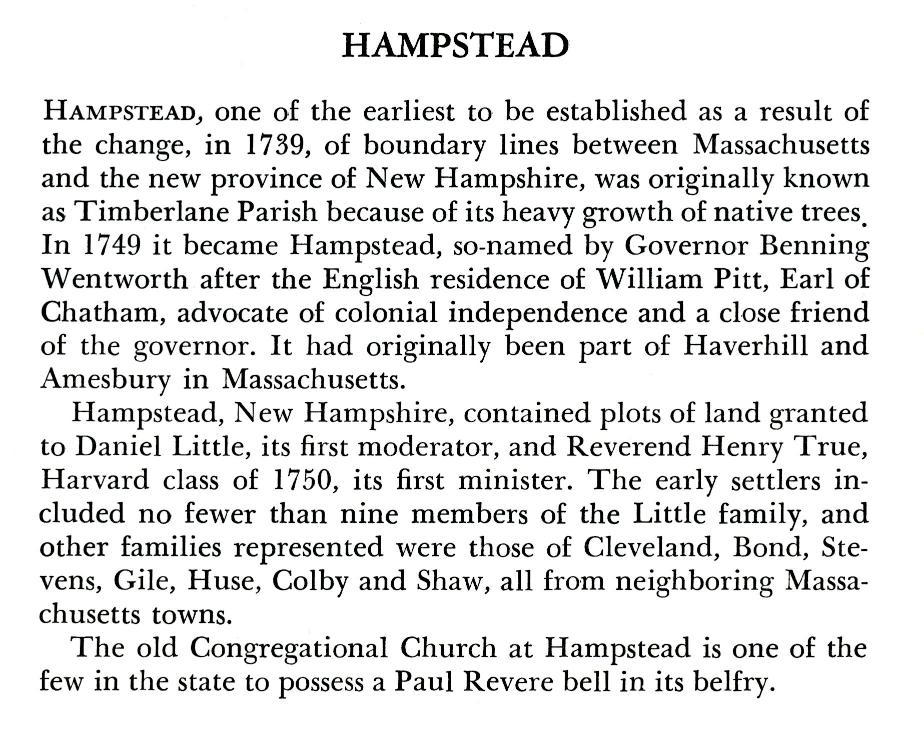 Hampstead New Hampshire Town History