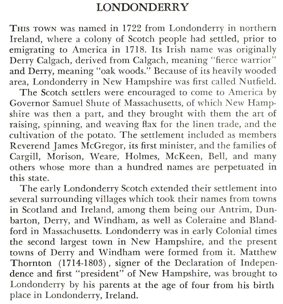 Londerry New Hampshire Town Name Origin