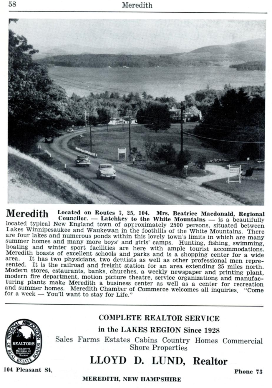 Meredith New Hampshire Travel Guide - 1953