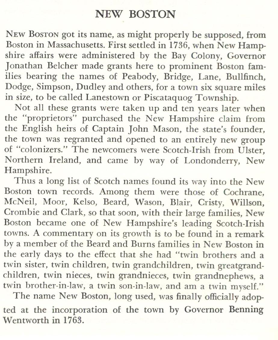 New Boston New hampshire Town Name Origin