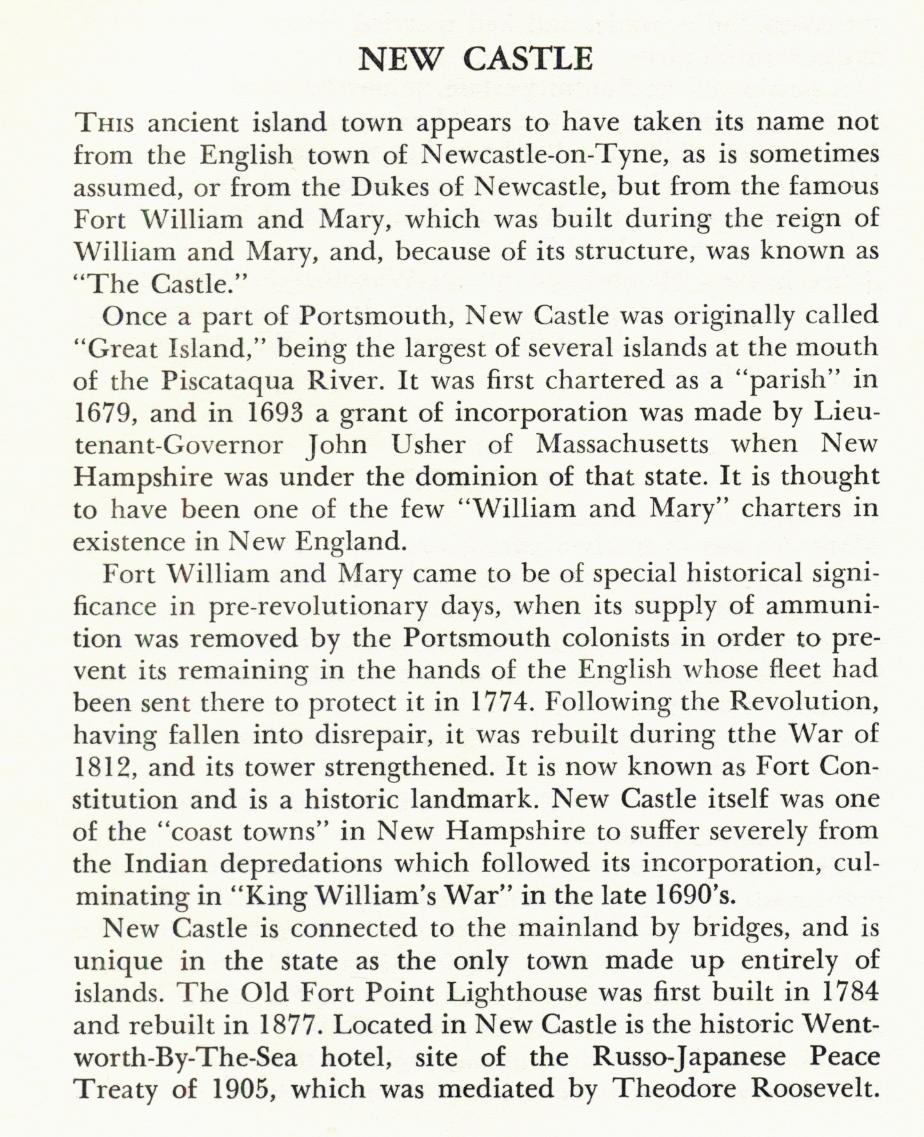 New Castle New hampshire Town Name Origin