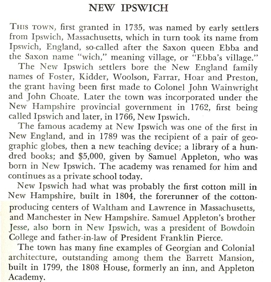 New Ipswich New Hampshire Town Name Origin