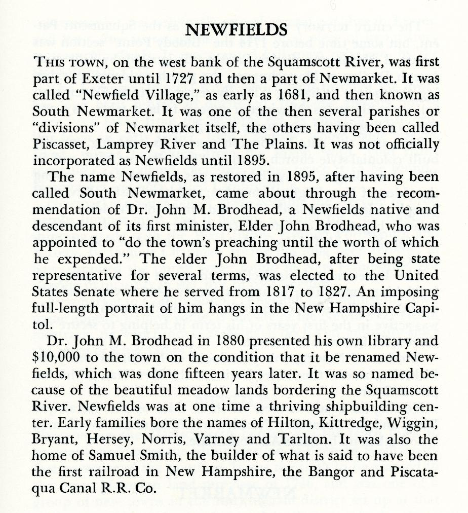Newfields New Hampshire Town Name Origin