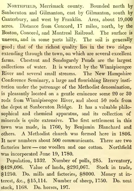 Northfield New Hampshire Town History