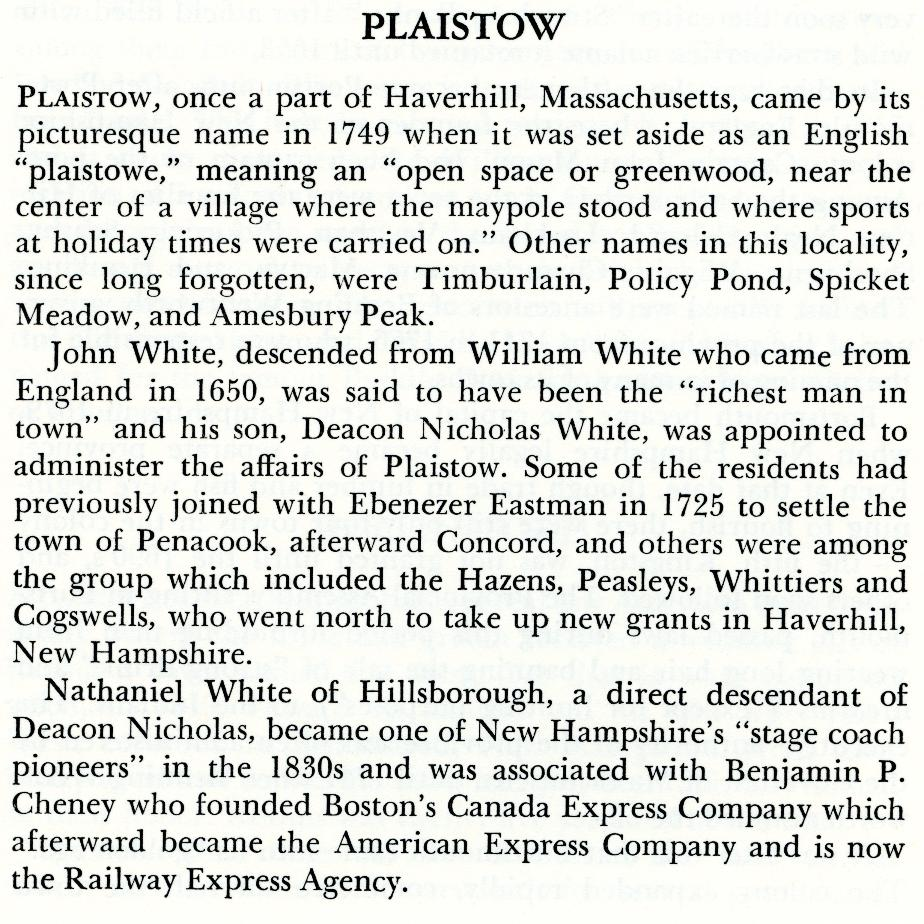 Plaistow NH Name Origin
