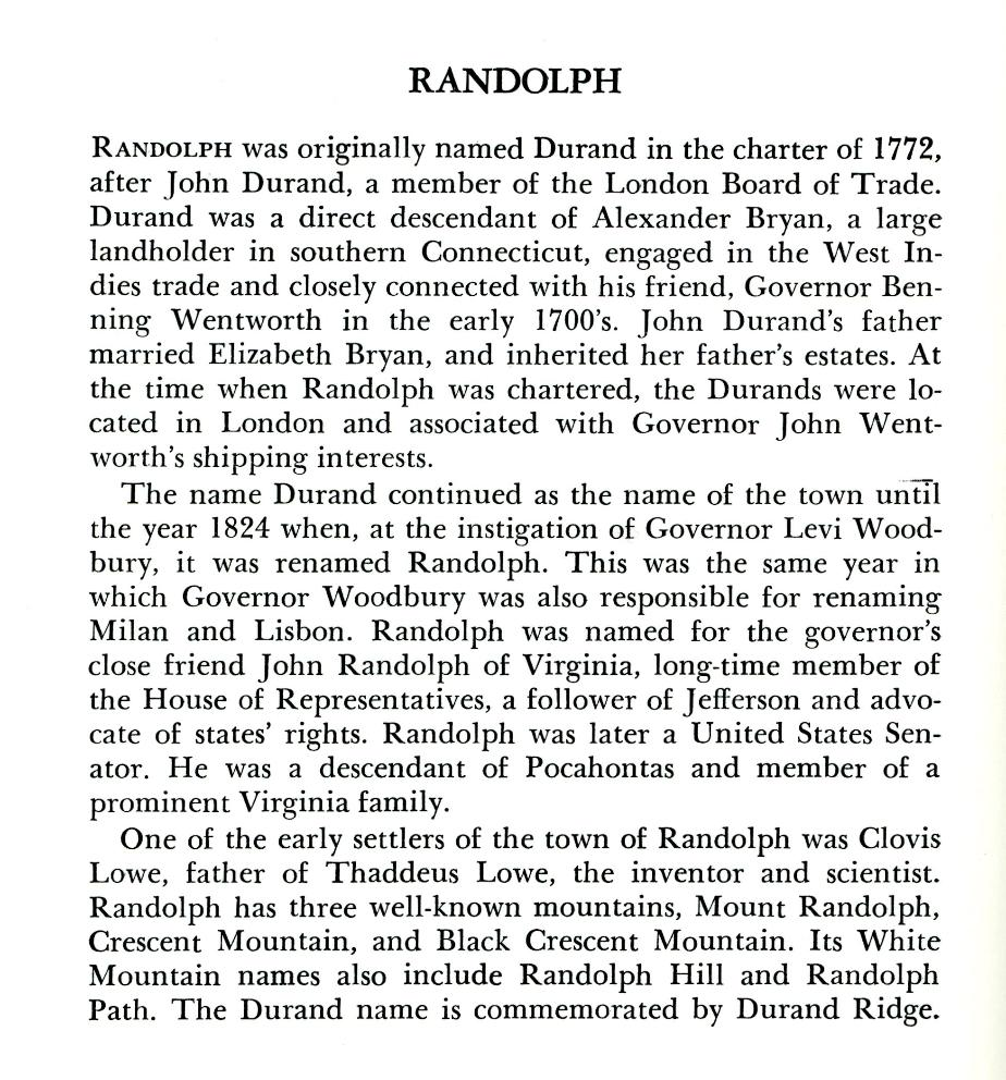 Randolph New Hampshire Town History