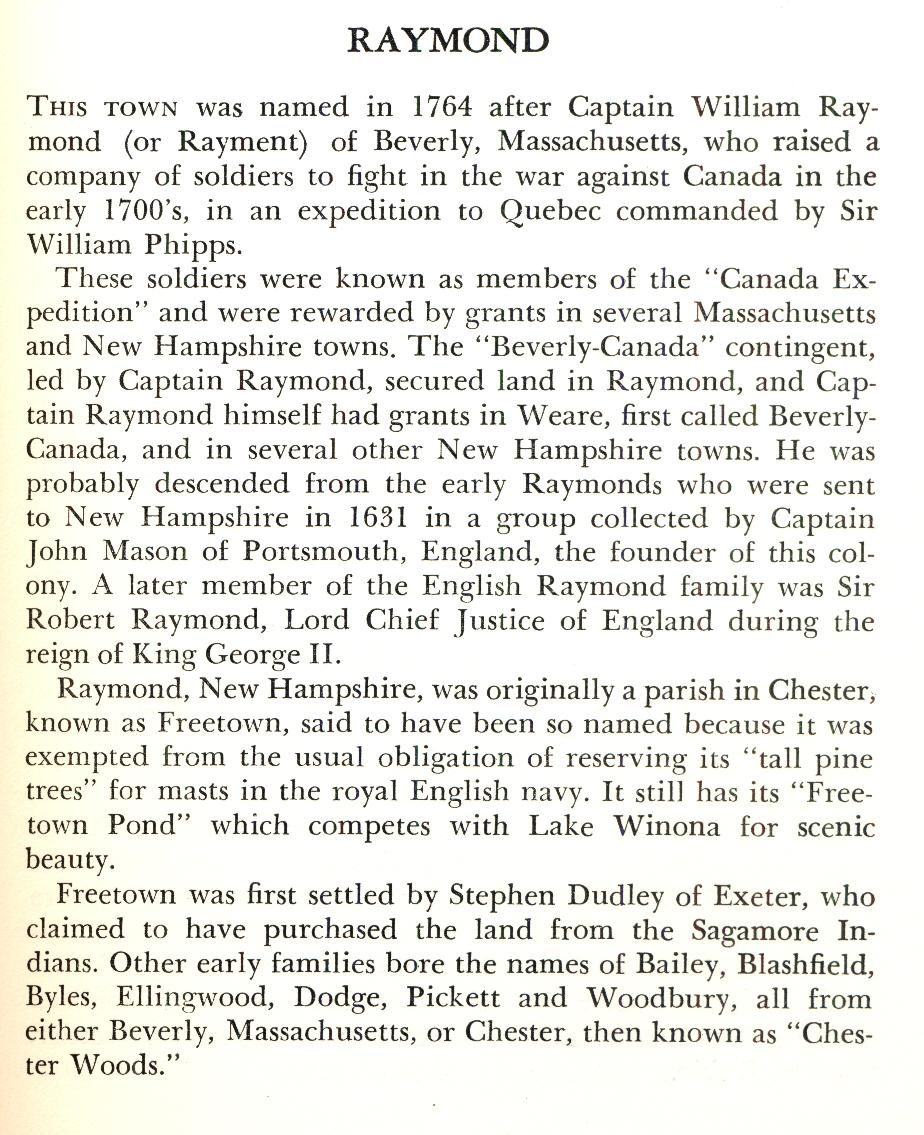 Raymond New hampshire Town Name Origin