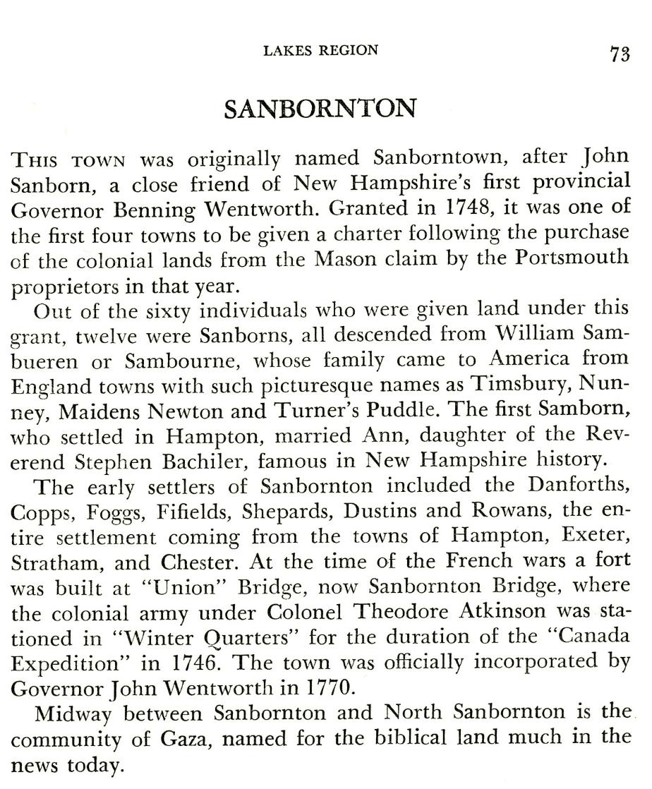 Sanbornton Town Name Origin