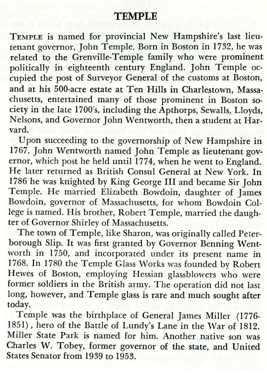 Temple New Hampshire Town History