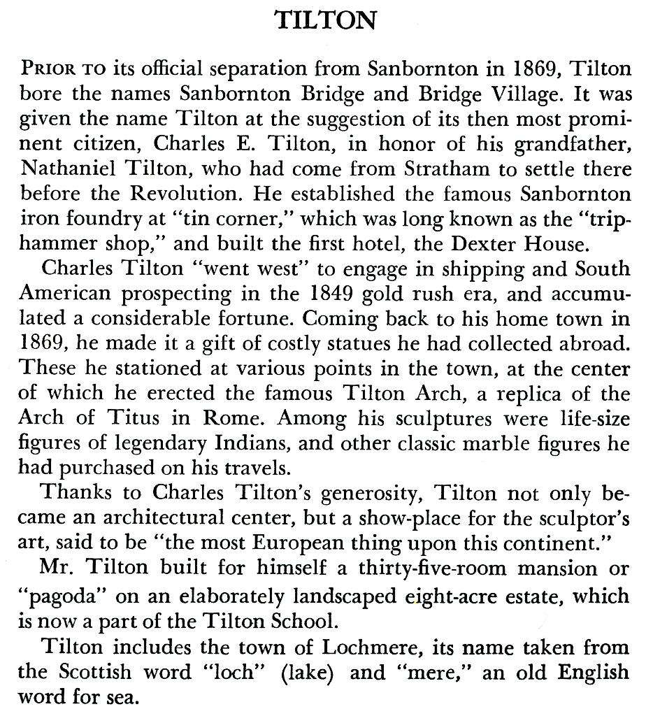 Tilton New Hampshire Town Name Origin
